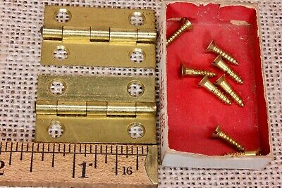 "2 door hinges NOS bright brass 1 1 x 7/8"" jewelry box narrow butt vintage screws"
