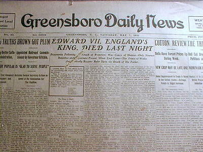 3 1910 newspapers British King Edward VII is DEAD - GEORGE V now rules ENGLAND