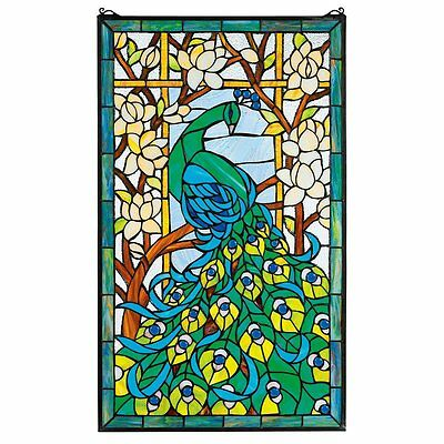 "HD715 Peacock's Paradise Stained Glass Window - 23"" x 34"" New!"