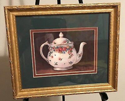 "Homco Home Interiors Picture 10 x 11.5"" TeaPot by Barbara Mock Floral USA Made"