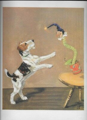 Wire Hair Fox Terrier Dog Vintage Color Print by Diana Thorne Nice!