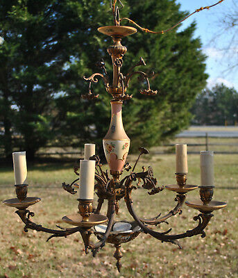 Vintage Brass Chandelier 5 Arms with Porcelain Parts and Ceiling Cap by Radiant