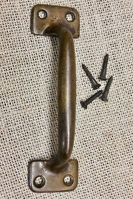 "Screen door handle 5"" drawer pull tarnished bronze brass old rustic sash lift"