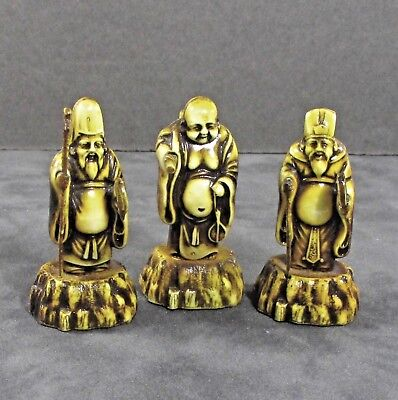 "3 Japan Japanese god celluloid figures 2.5"" ᵛ"