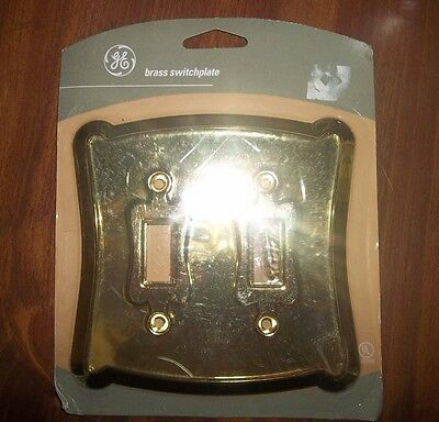 New GE Bright Gold BRASS Double LIGHT SWITCH COVER. Scroll Corners