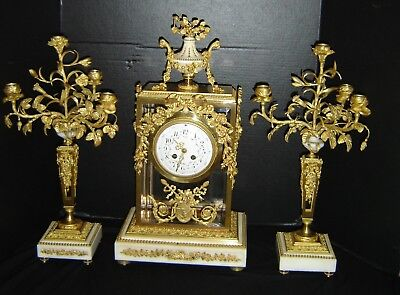 Antique French Empire Ormolu Bronze Dore And Marble Three Piece Clock Garniture.