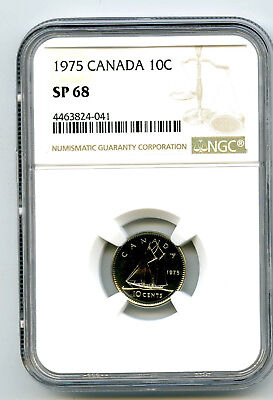 1975 Canada Specimen 10 Cent Ngc Sp68 Dime...rare Only 5 Known