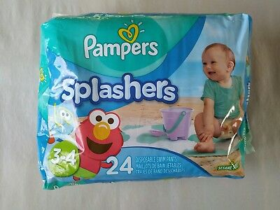 Pampers Splashers 24 Count Disposable Swim Diapers Size 3-4 Weight 16-34 Pounds