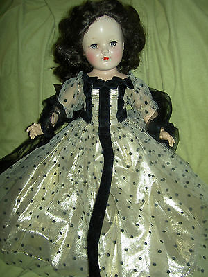 """Beautiful large 19"""", 1950s Ideal TONI P 92 brunette doll in tulle evening gown"""