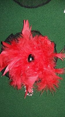 Large Beaded Feather Hair Fascinator Bnwt