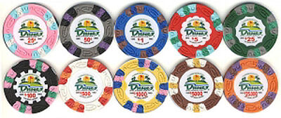 DUNES Casino COMMEMORATIVE POKER CHIP SET (10) 1 Each Denomination FREE SHIP *