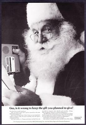 """1966 Santa Claus photo """"Everyone Gets a Gift but Me"""" IBM 224 Dictating Unit Ad"""