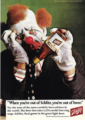 1967 Sad Circus Clown with Empty Beer Bottle photo Schlitz Beer promo print ad