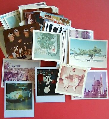 HUGE LOT of 100 Vintage SNAPSHOTS Photos OLD Color POLAROIDS c.1960s-1980s Orig