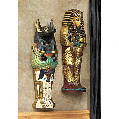 Set of 2: Egyptian Boy King Tut & Jackal God Anubis Sarcophagus Wall Sculpture