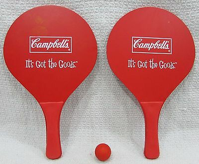 Vintage Campbell's Soup Advertising Toy Red Vinyl Paddle Ball Game Set FREE S/H