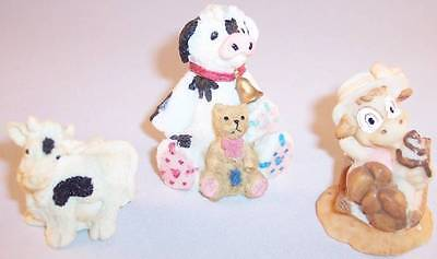 Lot of 3 Small Cow or Calf Figurines, Great Collectibles!