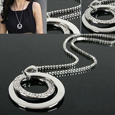 Women Crystal Rhinestone Silver Plated Long Chain Pendant Necklace Jewelry Gift