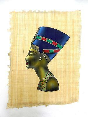 Vintage Karnak Gallery Egyptian Painting on Papyrus  Bust of a Queen