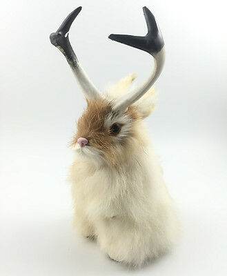 Realistic JACKALOPE RABBIT FUR TAXIDERMY REPLICA Figurine Brown Free Shipping