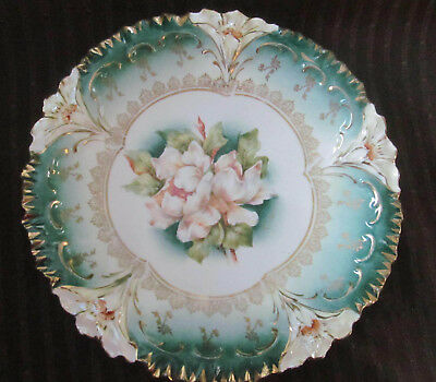 Antique RS PRUSSIA Magnolia Floral Plate~Lily Mold c1900 Reinhold Schlegelmilch