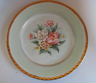 Vintage HOMER LAUGHLIN Floral Green Border Plate CHATHAM~Hand Painted 1952