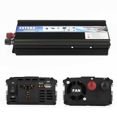Car Power Inverter Converter 2000W/4000W DC 12V To AC 110V USB Charger US