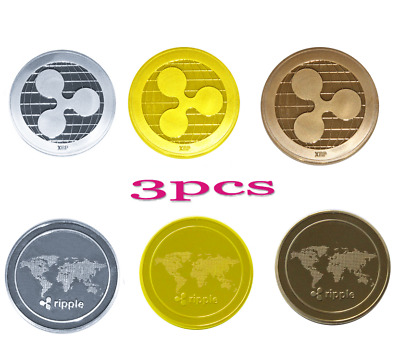 3x Gold Ripple Commemorative Round Collectors Coin XRP Coin is Gold Plated Coins