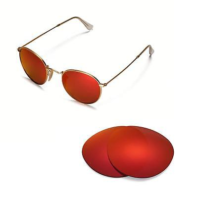 7ad43d16872 Walleva Polarized Fire Red Lenses For Ray-Ban Round Metal RB3447 50mm  Sunglasses