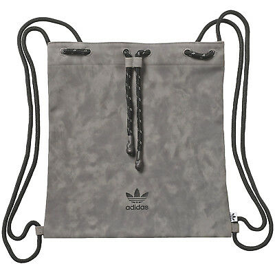 adidas Originals Womens Suede Trefoil Drawstring Gym Sack Bag - Grey