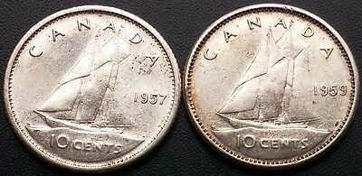 Lot of 2 Canada Silver 10 Cents Dimes - 80% Silver - Good Dates: 1957 & 1959