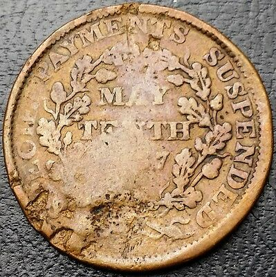 1837 Hard Times Token - Specie Payments Suspended May Tenth