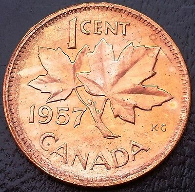 1957 Canada Small 1 Cent Penny ** RED MS CONDITION ** ◢ FREE COMBINED S/H ◣