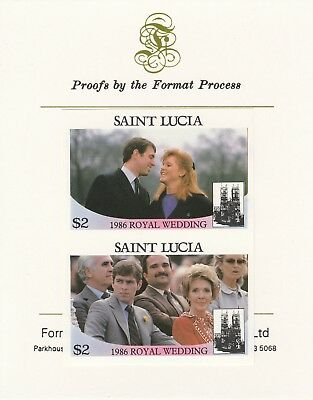 St Lucia 7154 - 1986 ROYAL WEDDING $2 pair on Format International PROOF  CARD
