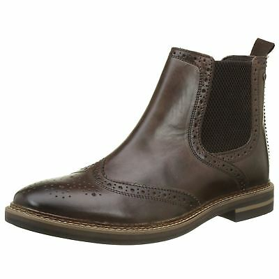 Base London Riley Cocoa Mens Leather Chelsea Brogue Elastic Gussets Ankle Boots