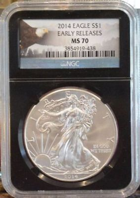 2014 American Silver Eagle $1 Dollar Coin Early Releases. Ngc Graded: Ms 70