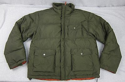 Men's J Crew Hunter Green Down Filled Puffer Jacket Field Coat Large