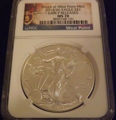 2014(W) American Silver Eagle $1 Coin Early Releases (Purple Heart Label). Ms 70