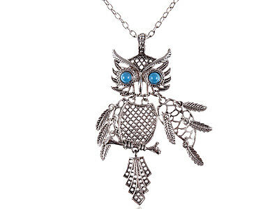 Chic Silver Color Tone Blue Turquoise Eye Bird Owl Pendant Necklace Jewelry Gift