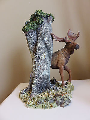 Country Moose Stands By Tree Candle Holder Resin Decorative Cottage Antlers