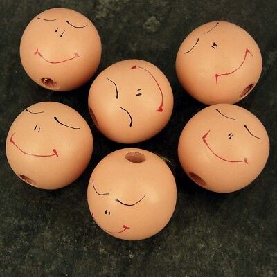 Pack 10 Large Sleeping Wooden  Doll Head Beads, 28 mm Faces -Hole 3 mm W28