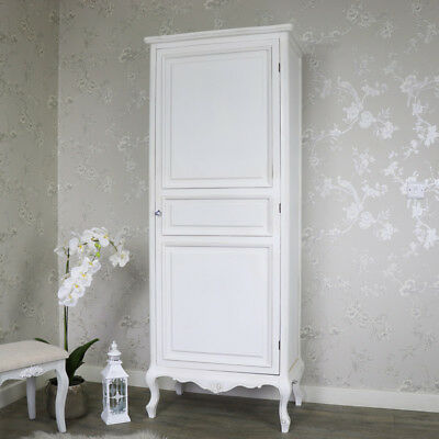 Ornate white single wardrobe vintage French chic bedroom furniture home storage