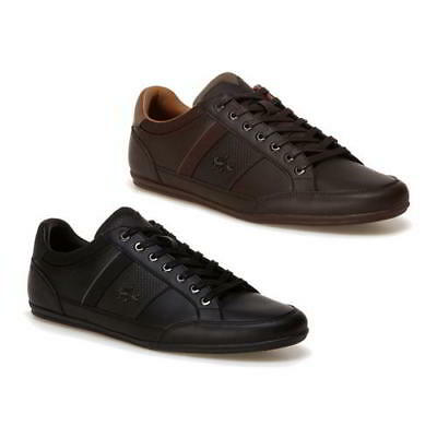 Lacoste Chaymon 118 1 Mens Black Brown Leather Lace Up Trainers Shoes Size UK 7-