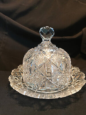Antique ABP American Brilliant Cut Glass Dome Butter Cheese Dish W/ Underplate