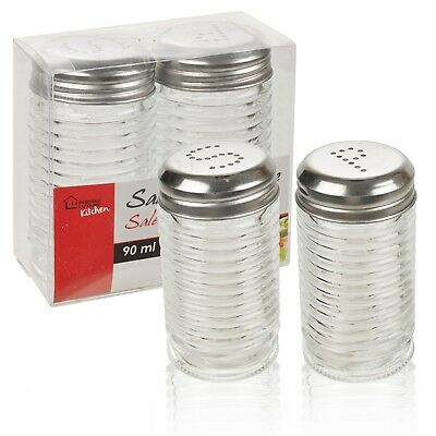 9cm Salt And Pepper Shaker Pot Set Glass Kitchen Pub Restaurant Screw Cap B&B