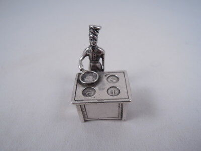 Dutch Miniature .800 Silver Chef Cooking Miniature Not Sterling