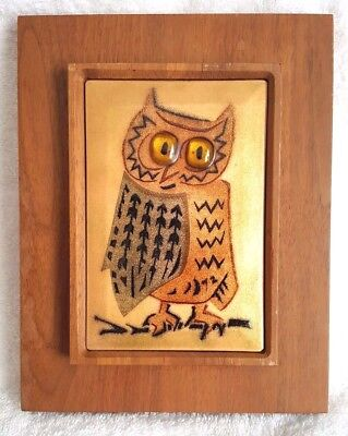 Annemarie Davidson Handcrafted Enamel On Copper Vintage Mid Century OWL Plaque