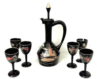 JAPANESE Black LACQUER Decanter SAKE Goblet Cup Set HAND Painted 1940s VINTAGE