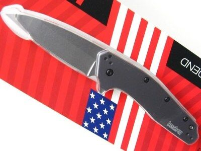 KERSHAW Gray DIVIDEND Assisted Straight STONEWASH Folding Pocket Knife! 1812GRY