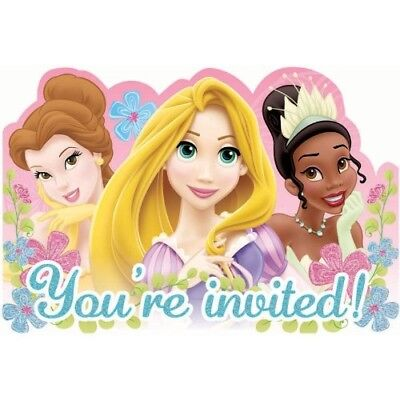 DISNEY PRINCESS INVITATIONS (8) ~ Birthday Party Supplies Stationery Cards Notes